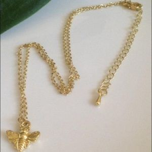 Gold Bumblebee 24k Dipped Honey Bee Necklace.